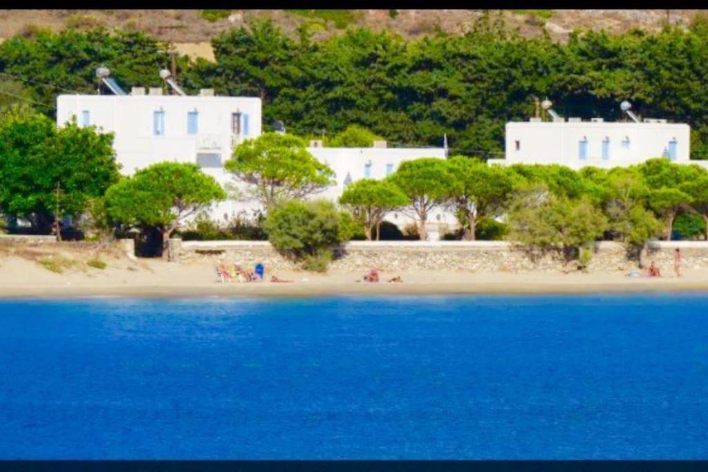 Exterior view ~ Niriides Studios ~ 3 Cycladic buildings on Krios beach.