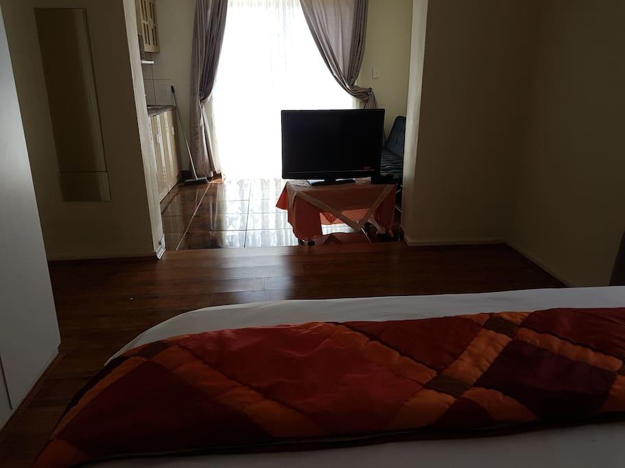 Bedroom towards kitchenette