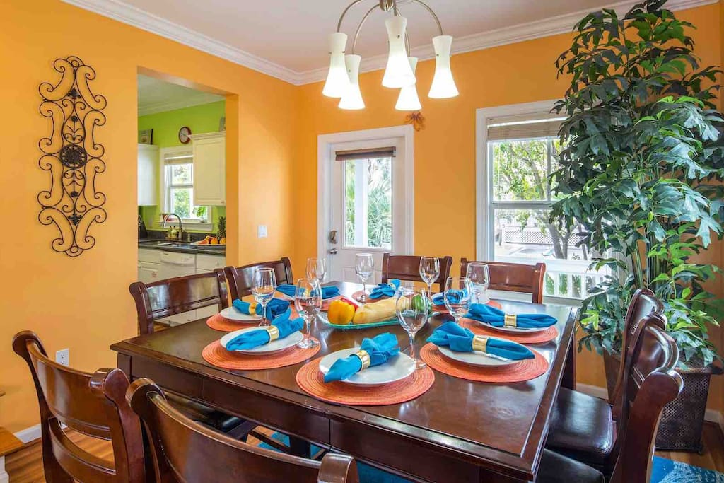 The large dining table will seat up to 8...