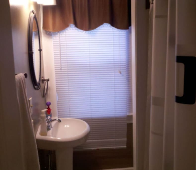Your full bathroom which is downstairs. Clean towels and toiletries are supplied