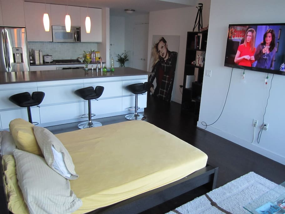 Shared Living Room- Full-Sized Bed & Open Kitchen