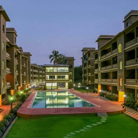 Poolside 1 BHK Apartment in Lush green Goan Resort