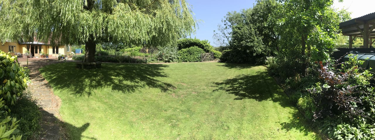 Flat looks out over a beautiful garden