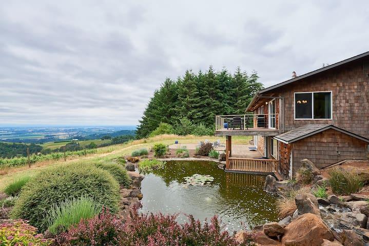 Garden landscaping features a koi pond
