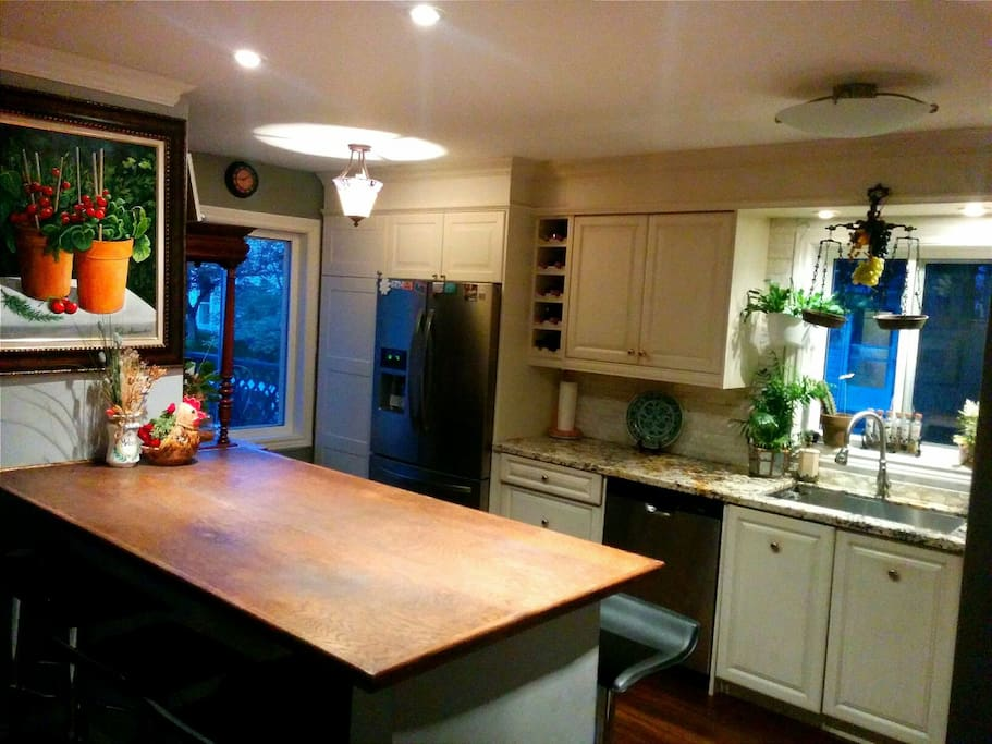 Kitchen with bar centre table