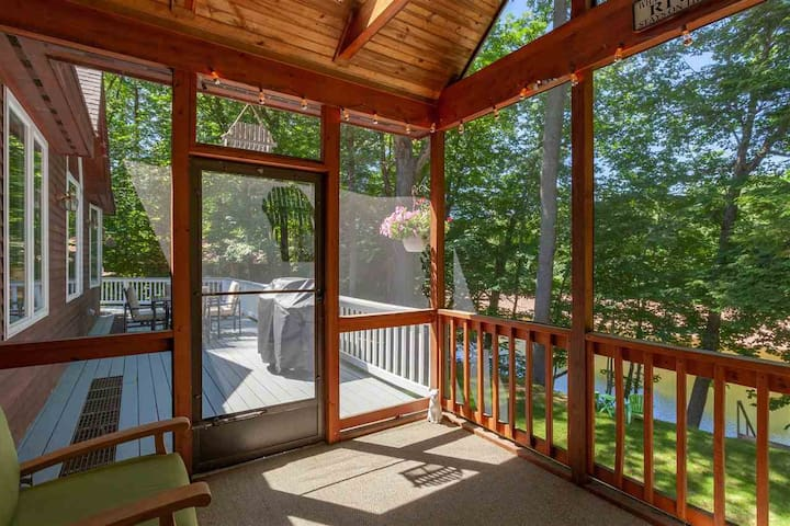Screened-in porch and wrap-around deck