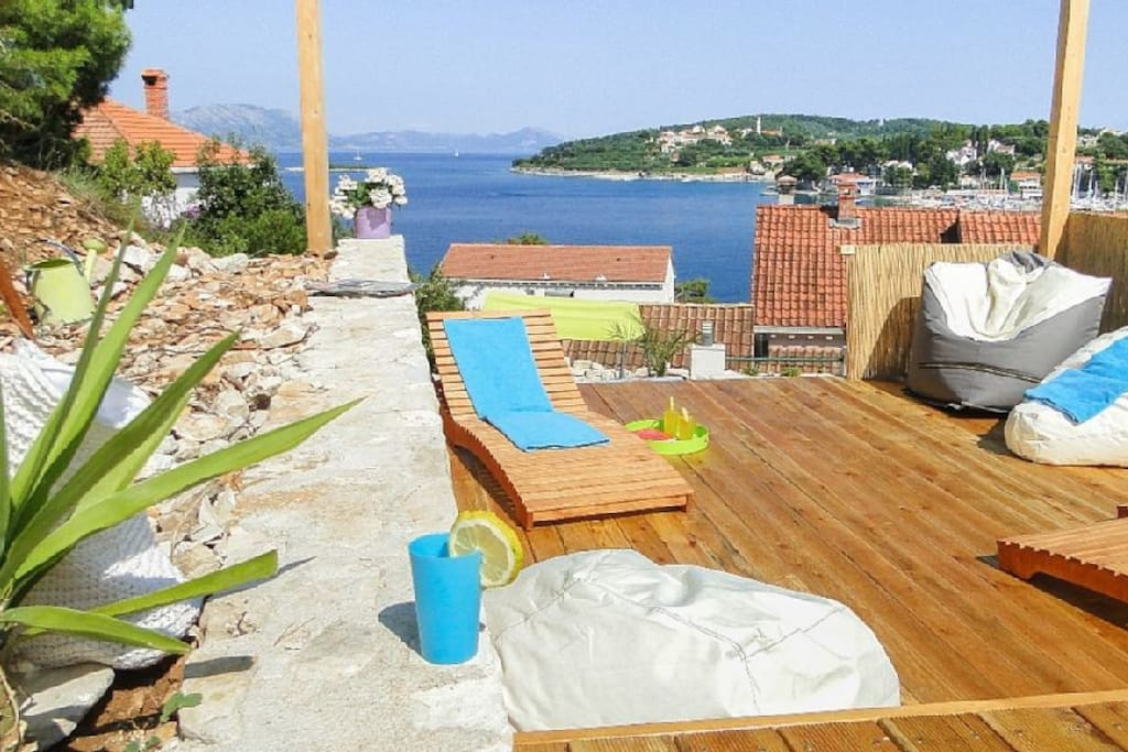 Sun deck above the Pool with fabulous view to the sea will take your breath away