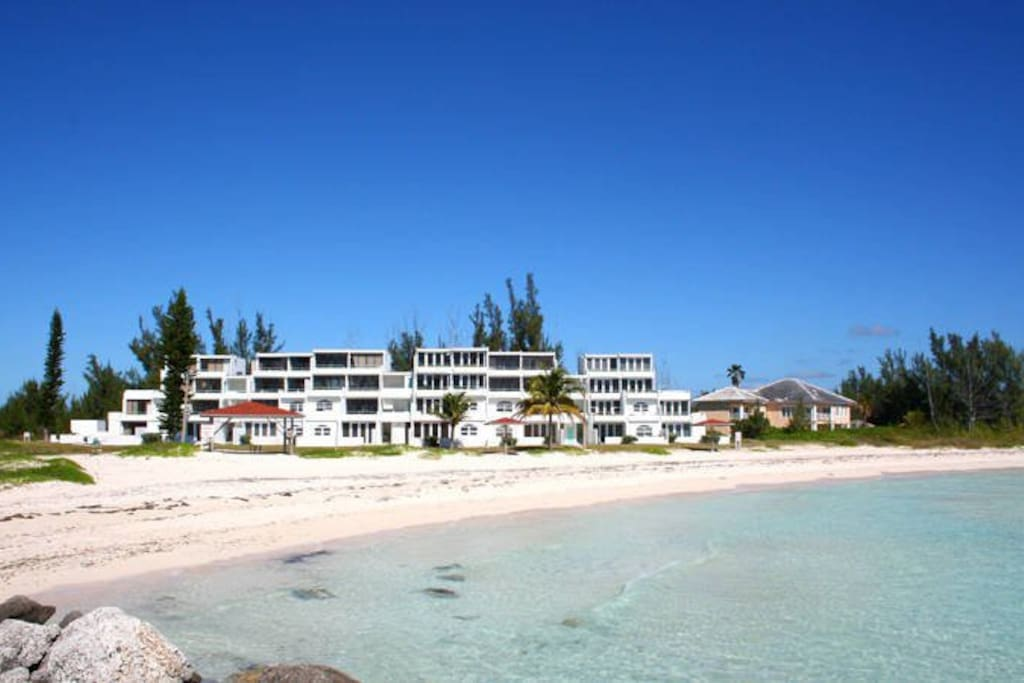 View from the ocean at the building