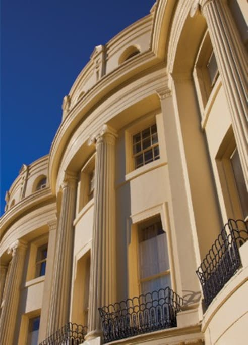 The beautiful 19th Century architecture of the prestigious Brunswick Square. Grade I listed Regency period property