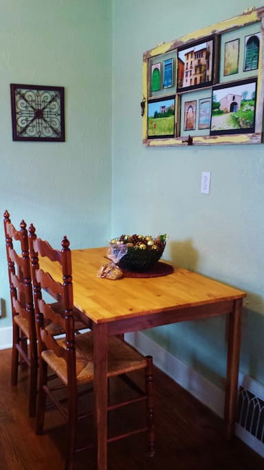 The breakfast nook is a great place to enjoy complimentary coffee and tea. The photos around the house are from our travels. Enjoy!