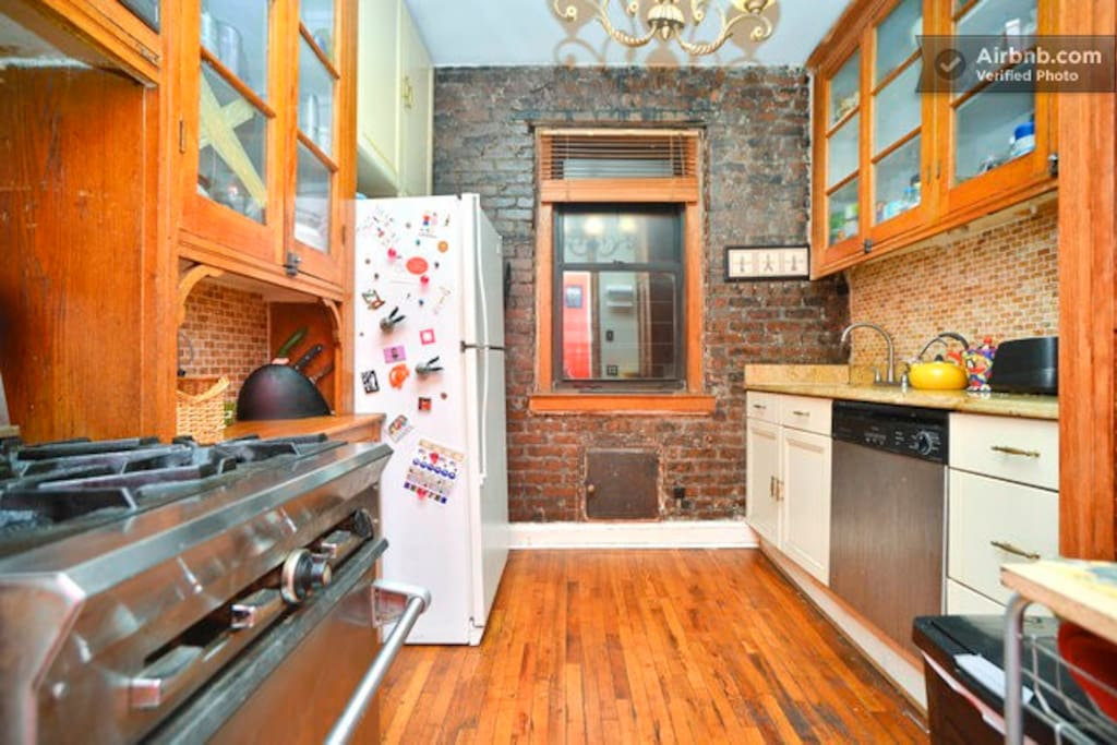 Wood and Naked brick Kitchen!