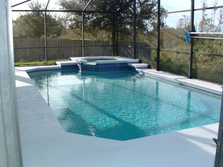 Heated private swimming pool and spa.