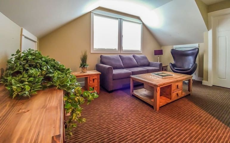 Second floor loft can serve as den or third bedroom with quality sofabed