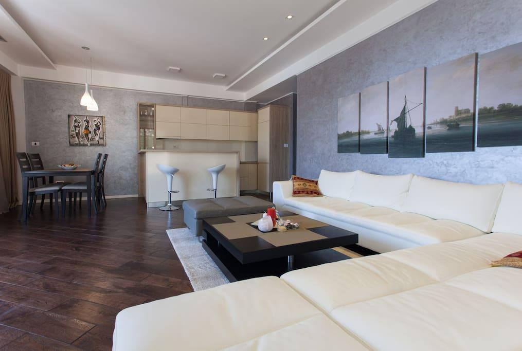 общий вид гостиной и кухня/general view of the living room and kitchen