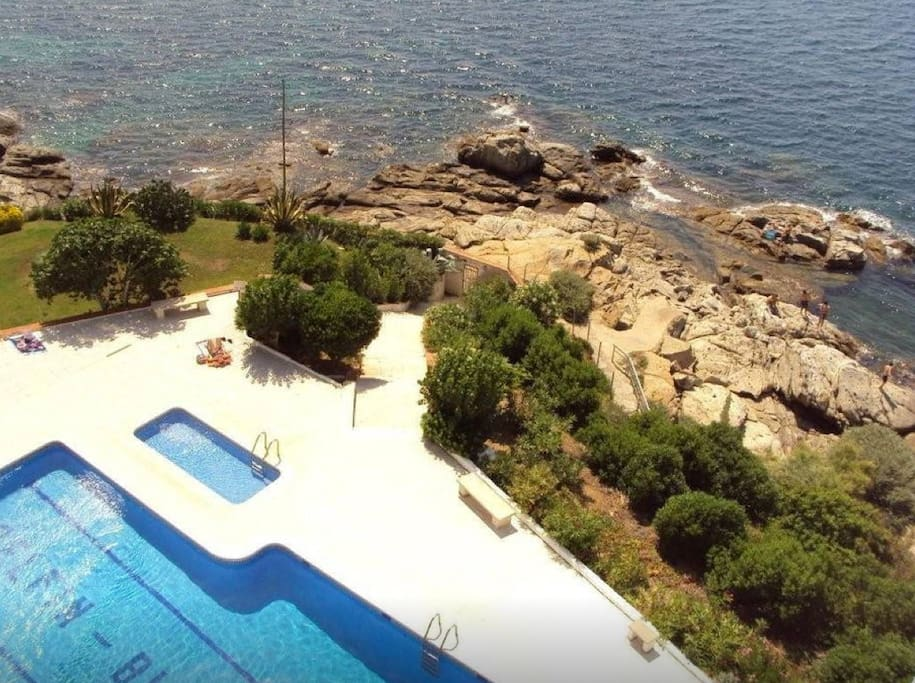 superbe studio 2 pers devant la mer avec piscine appartements louer roses catalunya. Black Bedroom Furniture Sets. Home Design Ideas