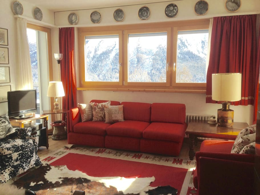 Living room looking on St Moritz
