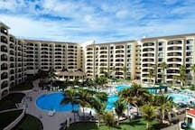Resort from ocean