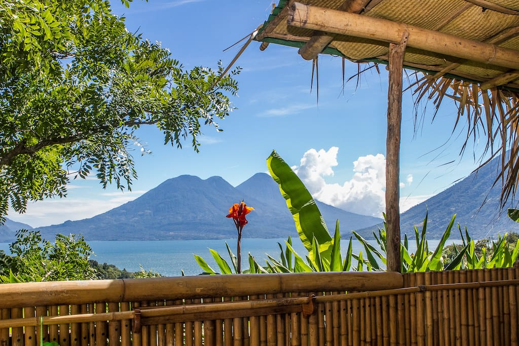 View of Lake Atitlán from our solar outdoor shower