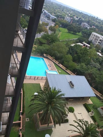 View from the balcony ( 8th floorl. Pool for use by anyone staying at Sandhurst Towers apartments.