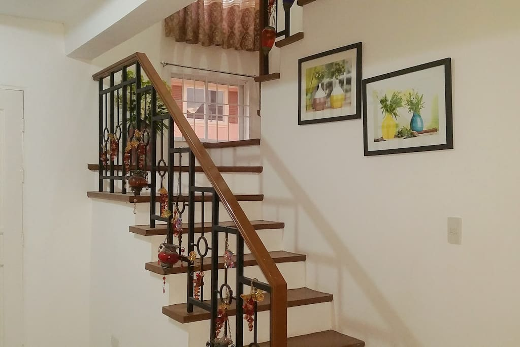 The stairs to the second floor of the house