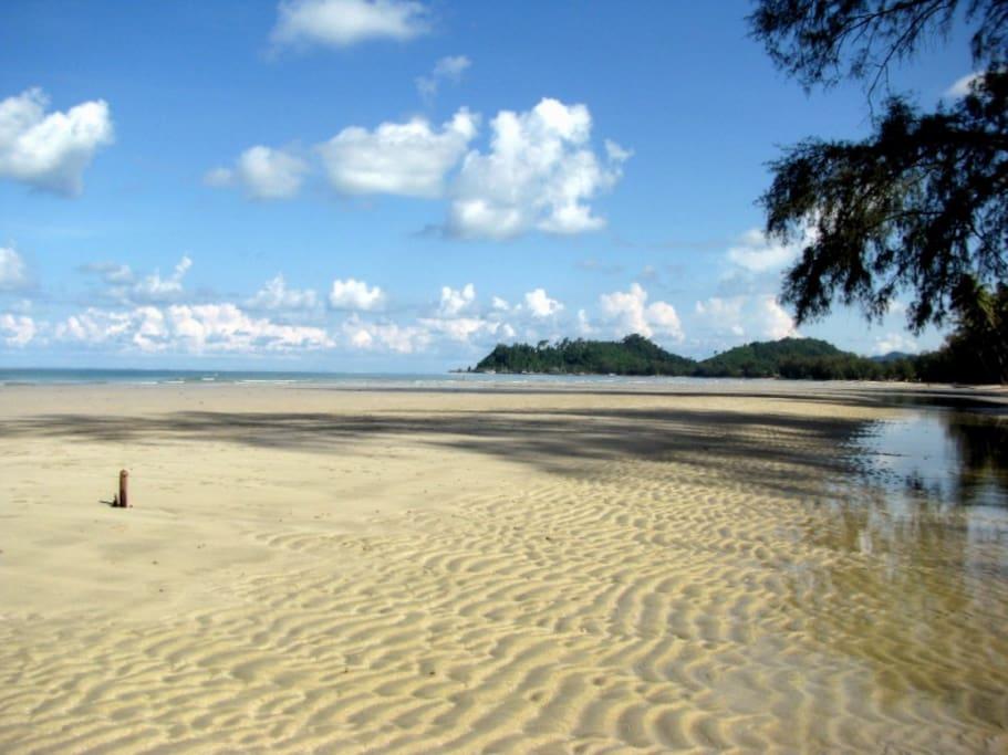 Opposite the house: the 3km long Klong Prao Beach