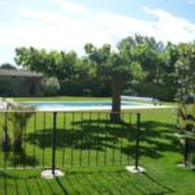 Accès à la belle piscine du Mas, sur jardin paysagé