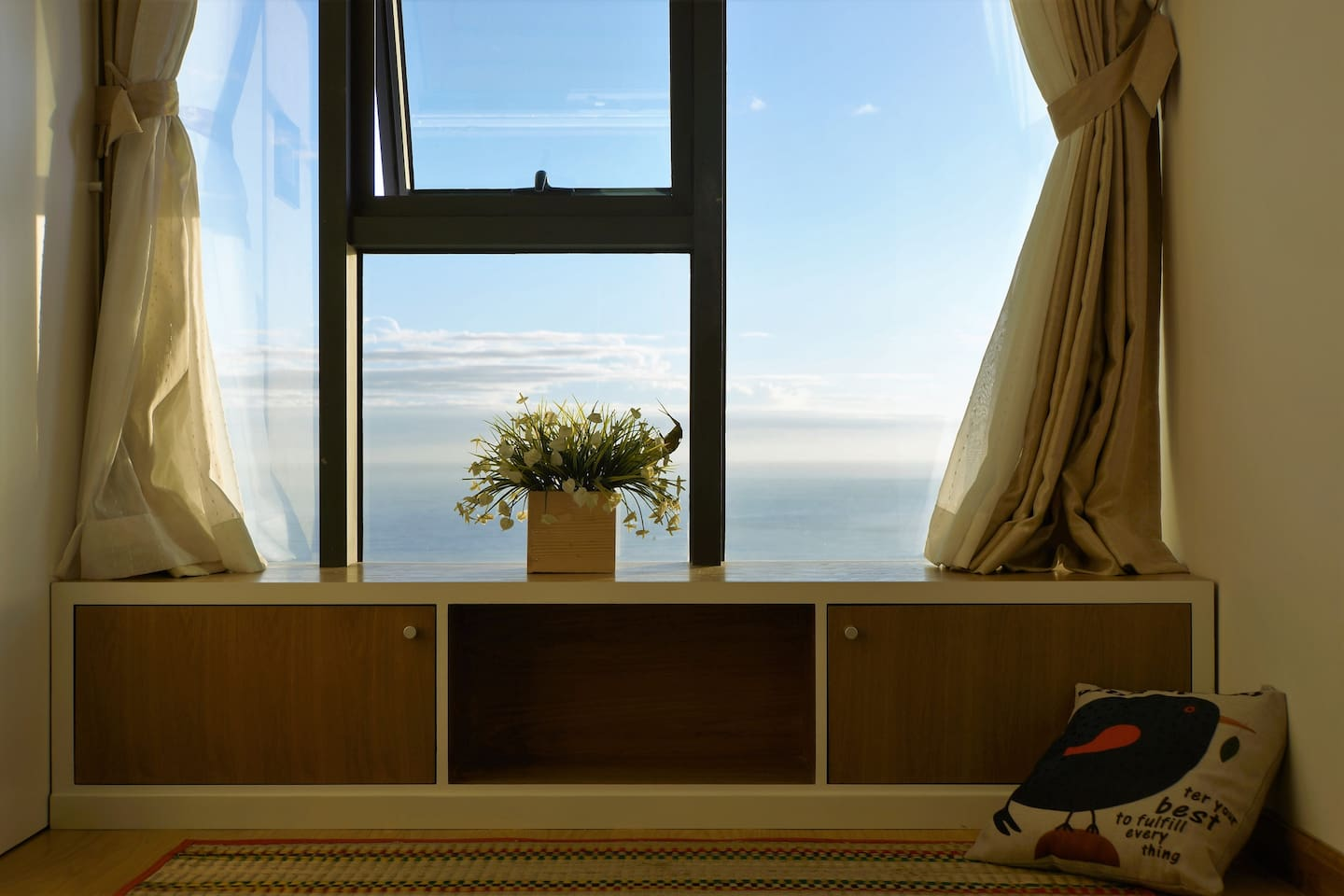 When the sea blends in the sky, view from the large front window