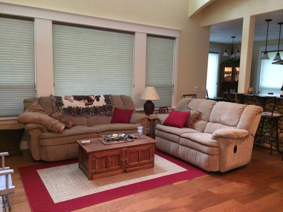 The Great Room makes the perfect gathering place to settle in to watch a DVD, VHS or to visit with family and friends.