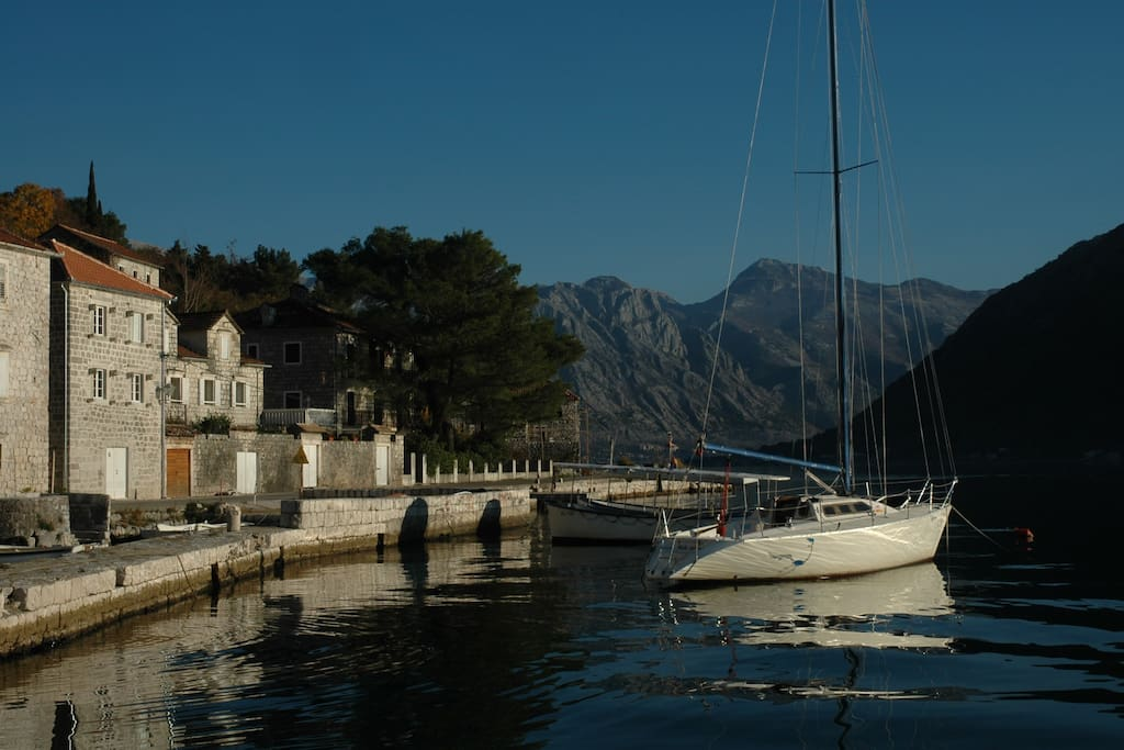 The small harbour in Perast - winter