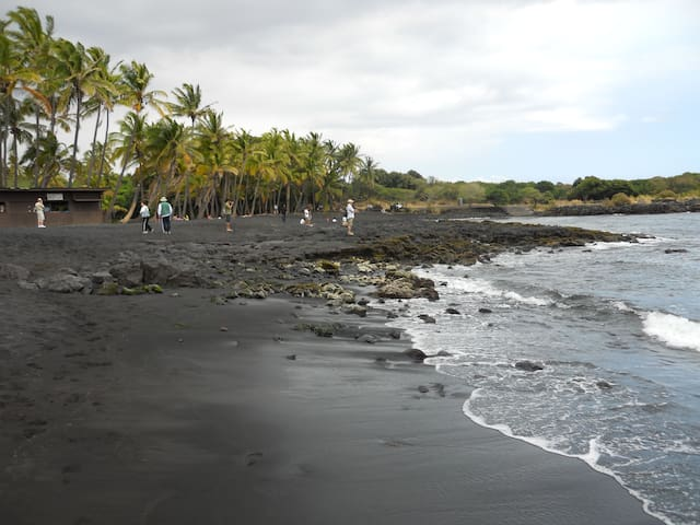 nearest beach is black sand at Punalu'u