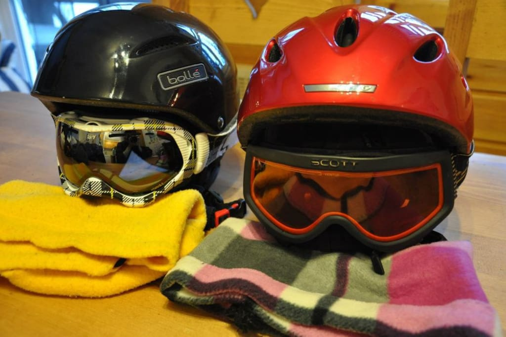 Getting ready to ski. Ski wear is available to rent from several specialist shops in the village - try Lantelme's for great service from Bernard. We have some equipment at the chalet for guests to borrow.