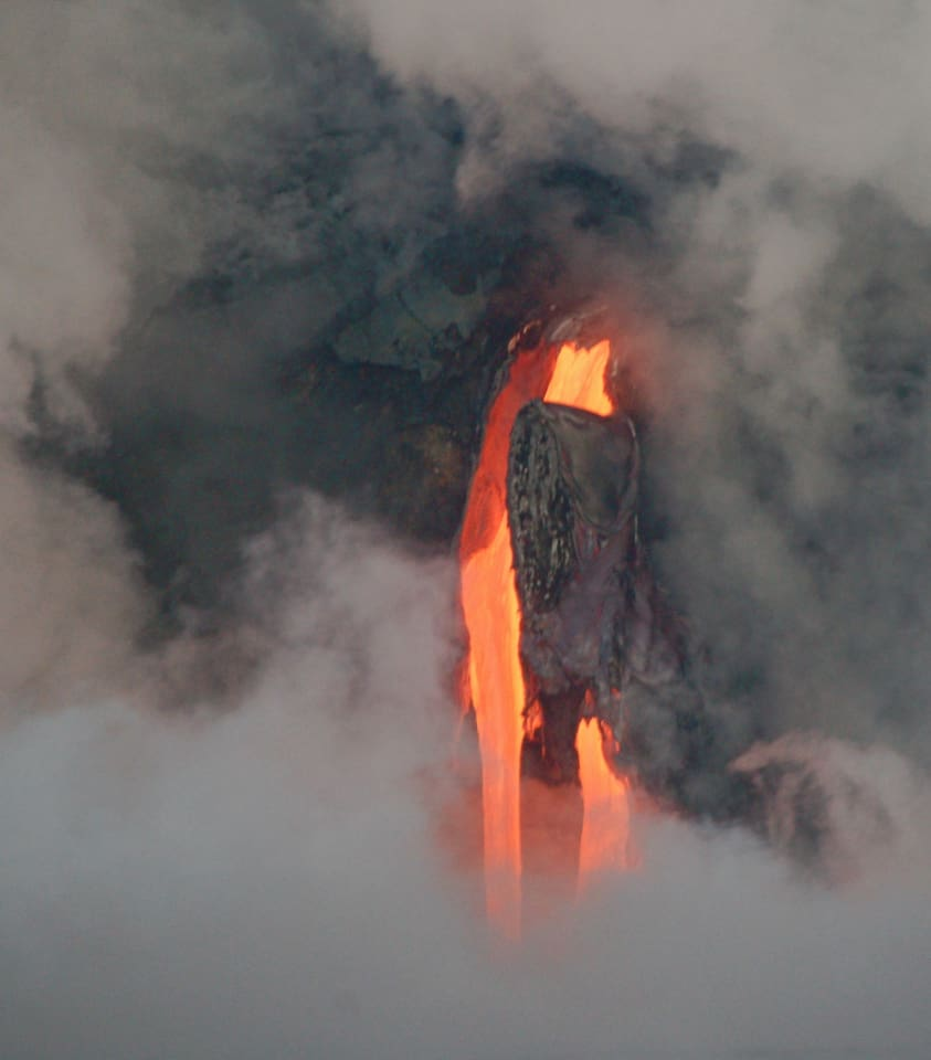 lava flowing into ocean at Kalapana - not currently happening