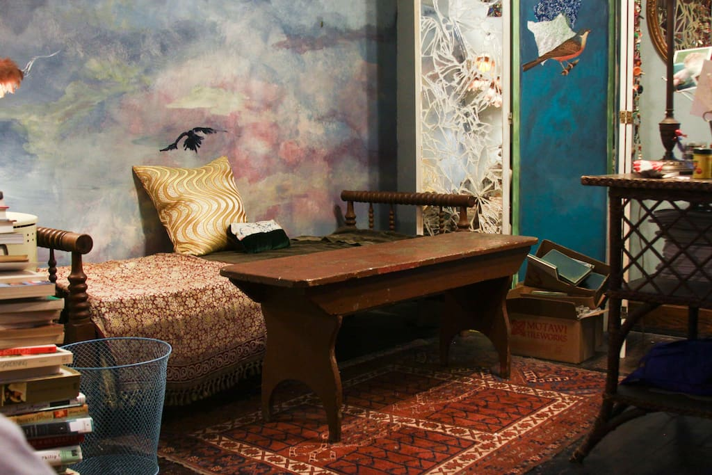 Chair and desk in bedroom, hand painted sky mural and decoupage folding screen