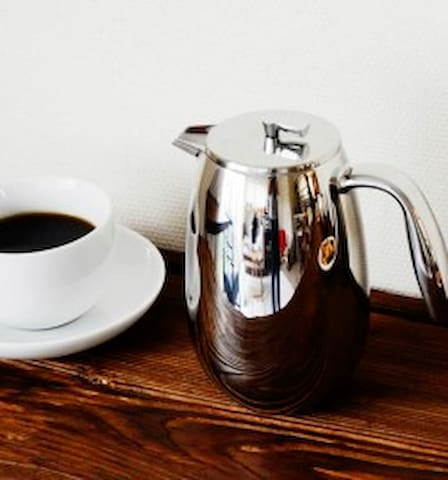 COFFEE!! There are three means to brew your beans!  French press, OR,  a drip maker OR an AreoPress.  We fresh grind the beans the day you arrive.