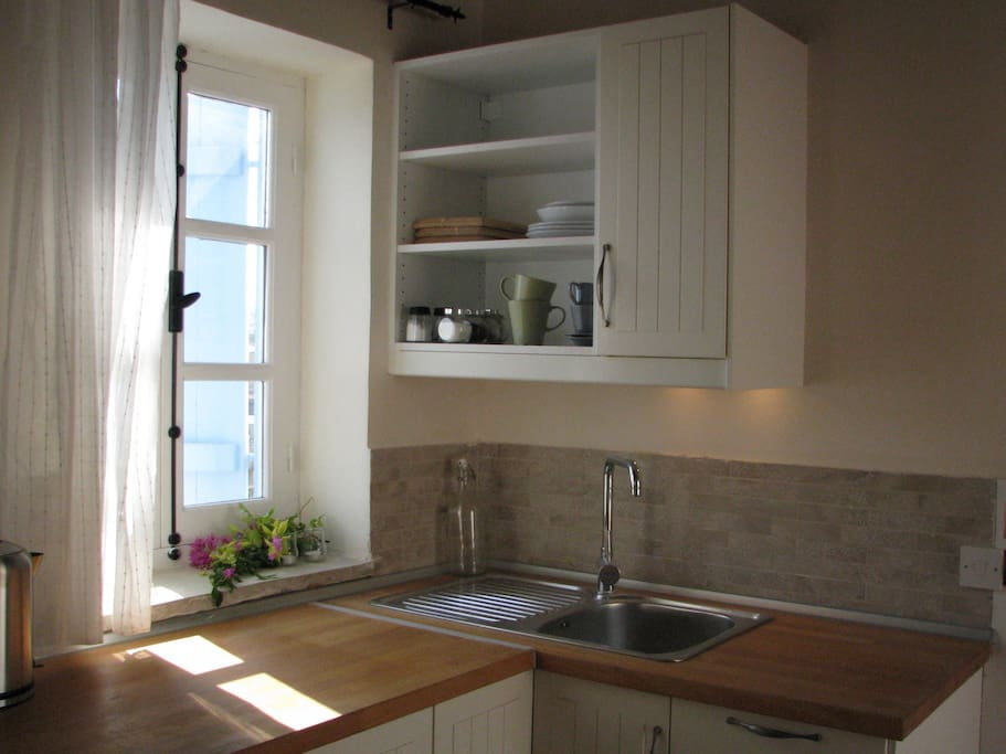 kitchenette with hot plate, toaster, fridge and mirowave
