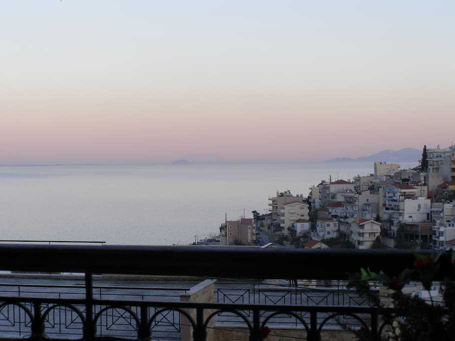 view from terrace, from bedroom, from living room. Aegean sea.....bonjour....