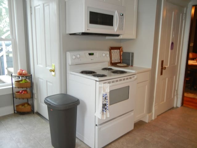 Kitchen area with full sized stove, built in microwave, garbage disposal, dishwasher, full sized refrigerator with ice maker.