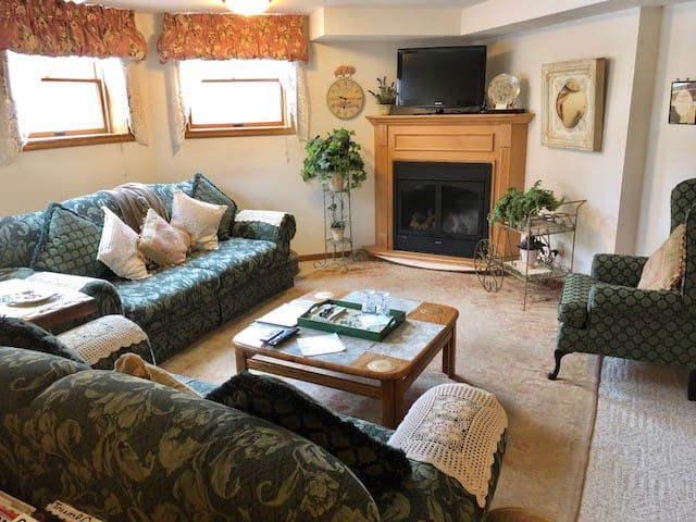 Private Living Room with TV/DVD & Fireplace