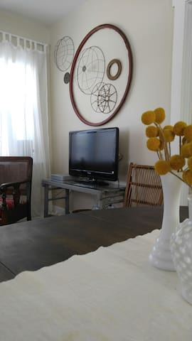 Living area with TV and digital antenna