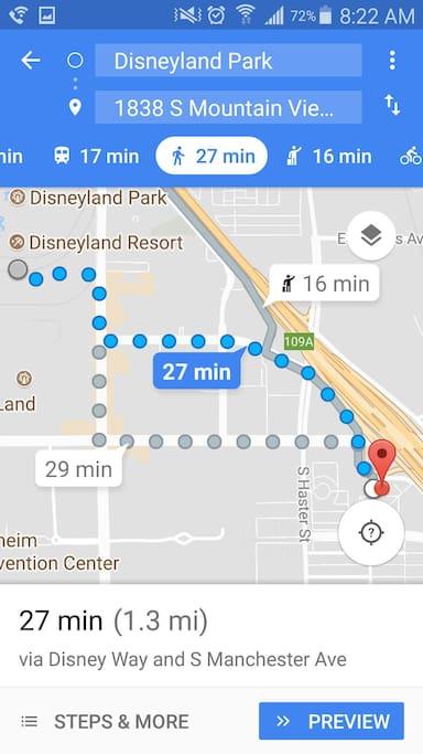 Close to Disneyland. Walk, ride a bike or Uber/Lyft.