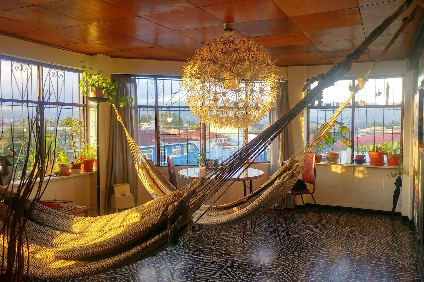 Feel free to lounge in the hammocks in the living area.