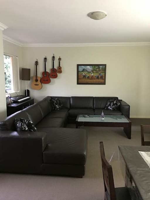 Spend your lazy times by reading, playing keyboard, strumming guitar in our living room.
