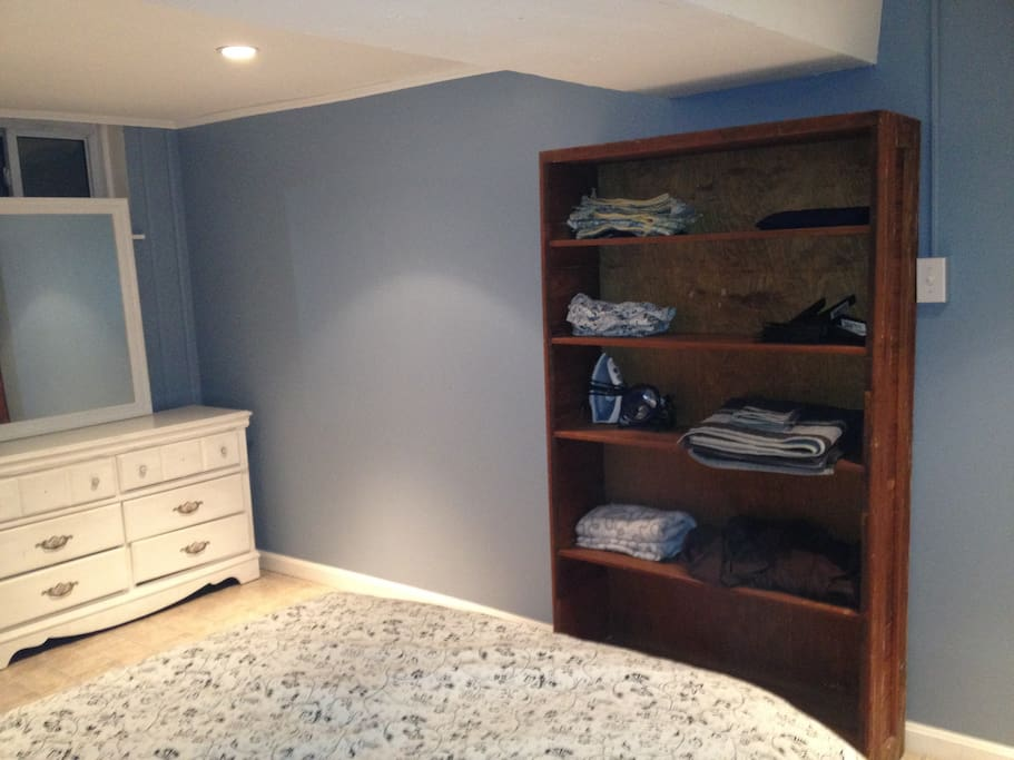 Bedroom with closet, dresser, and all linens/towels (We also have an iron, hair dryer, etc.)