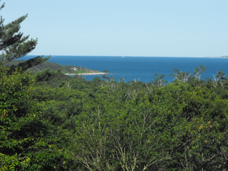 View looking northwest from front deck / living room out to Lambert's Cove