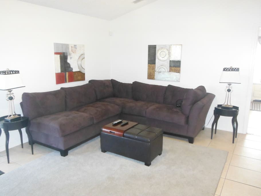 Modern living area with corner sofa