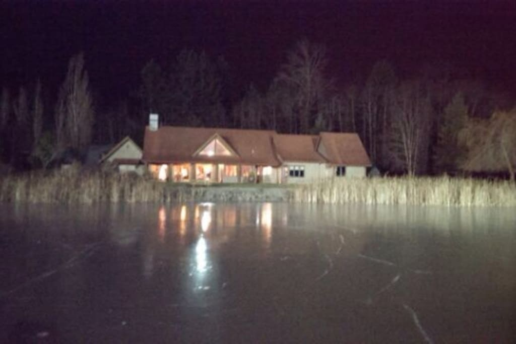 Our home in December 2013 when the lake froze. Time to skate.