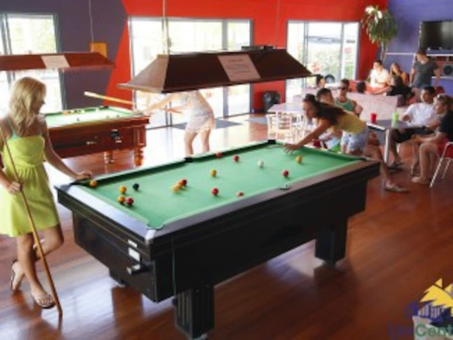 Entertainment pavillion with pool table, table tennis and large screen TV