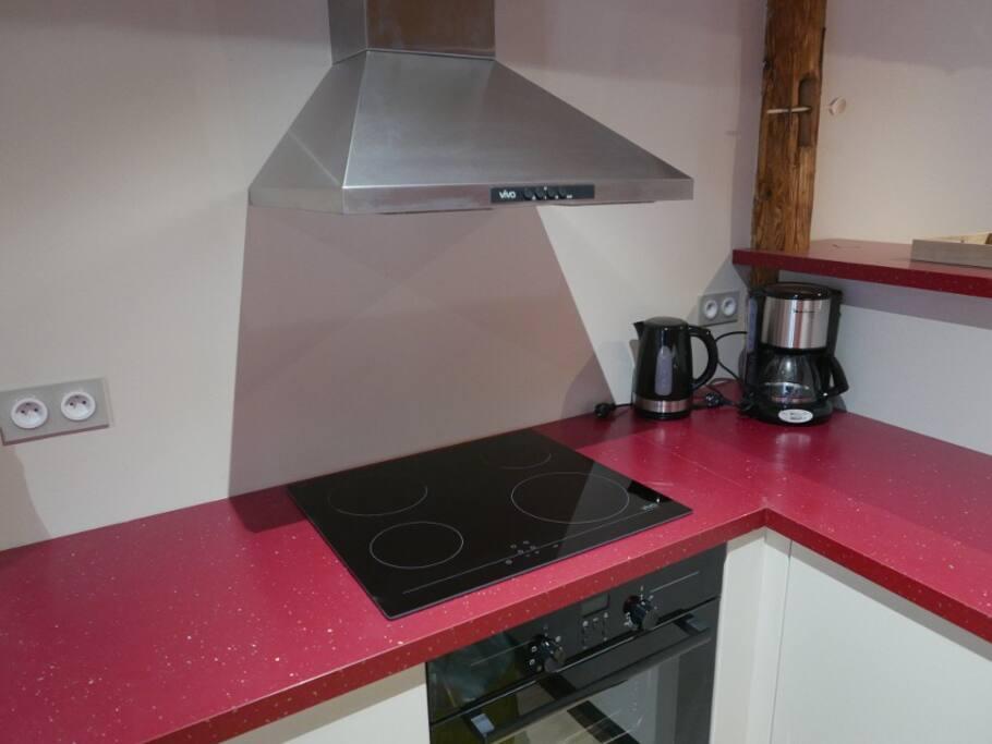 Cuisine équipée (lave vaiselle, four, plaque, réfrigérateur, hotte...)