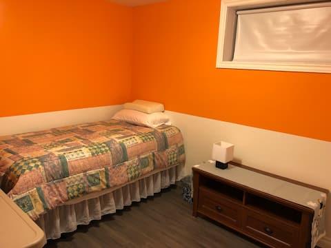 Comfortable basement bedroom