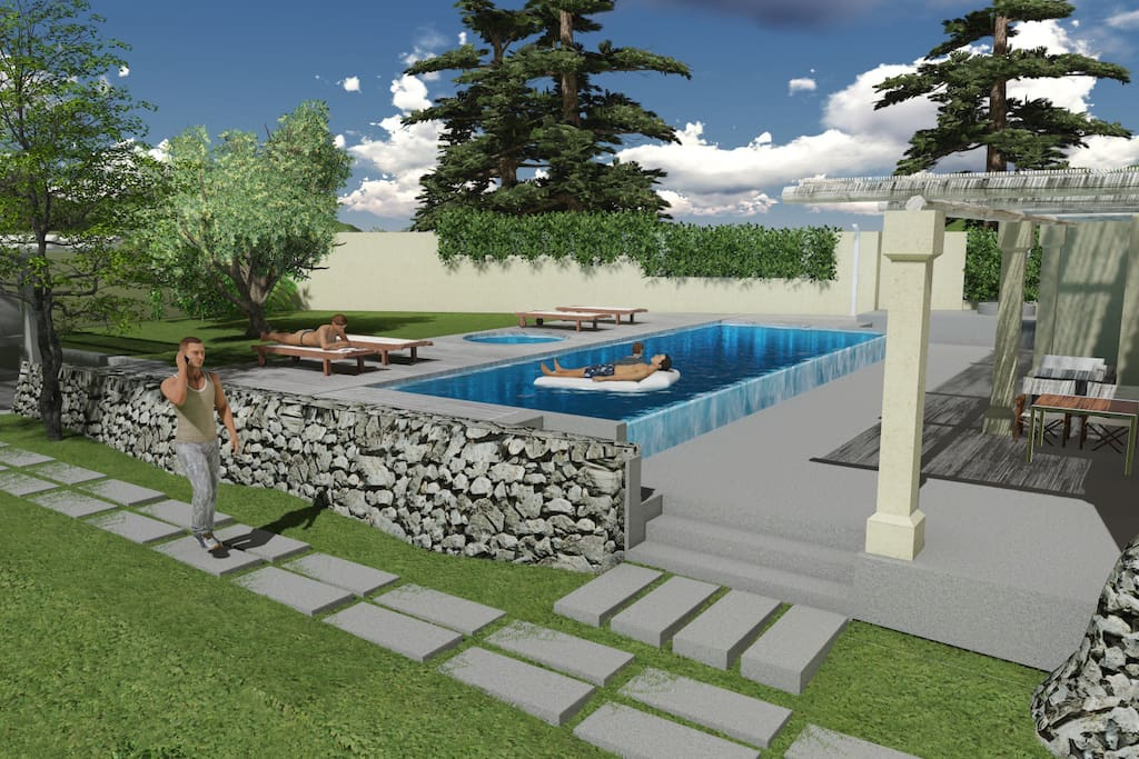 BACK YARD WITH THE POOLS